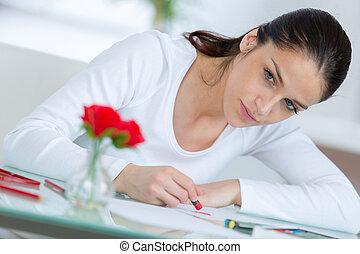 vrouwlijk, kunstenaar, jonge, rozen, kopiëren, rood