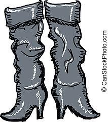 vrouwlijk, laarzen