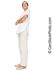 vrouwlijk, lengte, verpleegkundige, volle, gekruiste armen