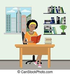 vrouwlijk, lezen, tiener, boek, spotprent, thuis