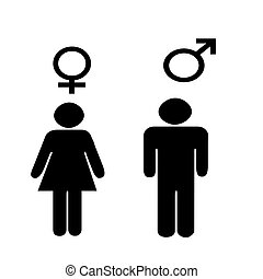 vrouwlijk, mannelijke , symbolen, illus