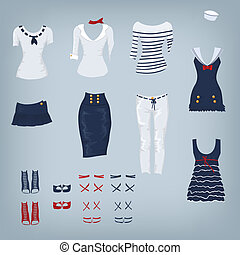 vrouwlijk, marine, set, van, kleren