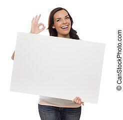 vrouwlijk, meldingsbord, hardloop, vasthouden, leeg, gemengd, het glimlachen, witte