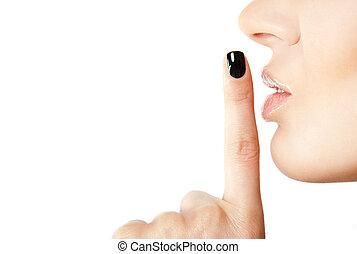 vrouwlijk, meldingsbord, vinger, stilte
