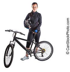 vrouwlijk, met, de fiets van de berg