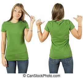 vrouwlijk, met, leeg, groen hemd
