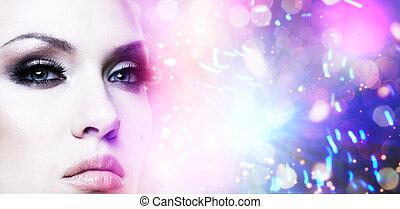 vrouwlijk, modieus, portrait., abstract, kleurrijke, achtergrond