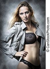 vrouwlijk, ondergoed, sexy, model.