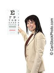 vrouwlijk, oogarts, wijzende, oog diagram