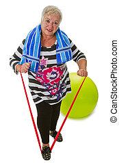 vrouwlijk, oude vrouw, oefeningen