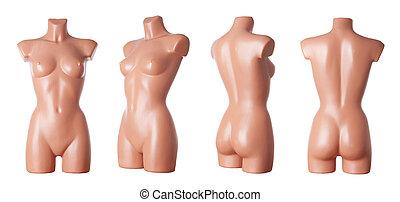 vrouwlijk, paspop, lichaam, |, vrijstaand