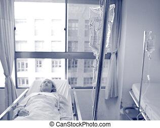 vrouwlijk, patiënt, in het ziekenhuis