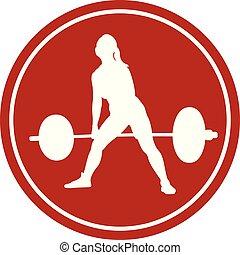 vrouwlijk, pictogram, powerlifter, atleet