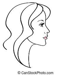 vrouwlijk, pictogram, vector