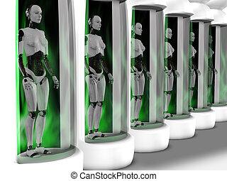 vrouwlijk, robots, staand, in, slapende, chambers.