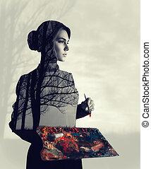 vrouwlijk, schilder, dubbele blootstelling, effect