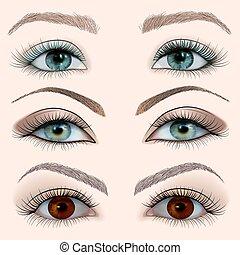 vrouwlijk, set, oog, wi, illustratie
