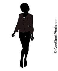 vrouwlijk, silhouette, kantoor, illustratie