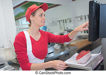 vrouwlijk, slagers, op het werk