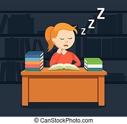 vrouwlijk, slapende, terwijl, boek, student lezen