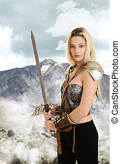 vrouwlijk, strijder, met, zwaard, en, berg, in, achtergrond