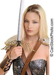 vrouwlijk, strijder, vasthouden, zwaard