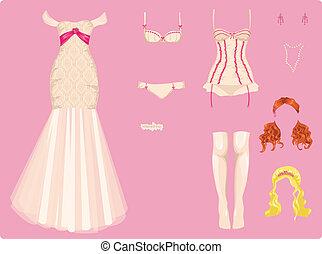 vrouwlijk, trouwfeest, kleren