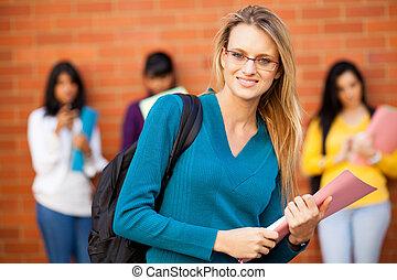 vrouwlijk, universiteit, jonge, student, kaukasisch