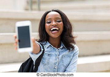 vrouwlijk, universiteit, telefoon, student, het tonen, smart
