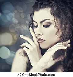vrouwlijk, verticaal, met, beauty, bokeh, voor, jouw, ontwerp