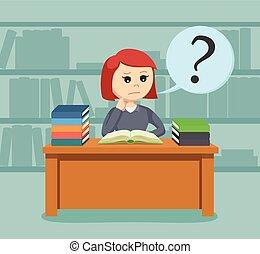 vrouwlijk, verward, terwijl, boek, student lezen