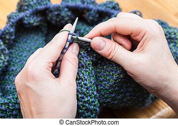 vrouwlijk, vingers, breien, pullover, van, wol,...