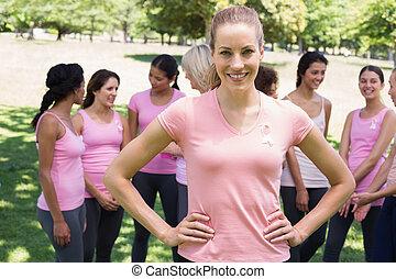 vrouwlijk, vrijwilliger, steunen, weersta aan kanker,...