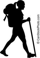 vrouwlijk, wandelaar
