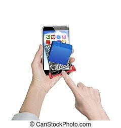 vrouwlijk, wijsvinger, voortvarend, boodschappenwagentje, met, app, knoop, op, smartphone