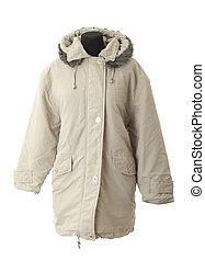 vrouwlijk, winter jas, |, vrijstaand