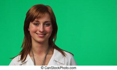 vrouwtje arts, in, een, ziekenhuis, 2