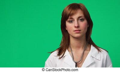 vrouwtje arts, in, een, ziekenhuis