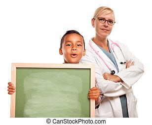 vrouwtje arts, krijt, spaans, plank, holdingskind