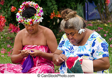 vrouwtjes, lagune, polynesiër, eiland, naaiwerk, buiten, ...