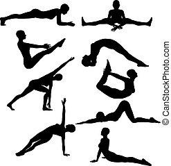 vrouwtjes, silhouettes, maniertjes, yoga