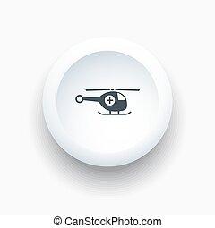 vrtulník, knoflík, neposkvrněný, pohotovostní, ikona