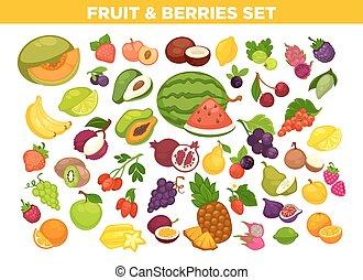 vruchten, en, besjes, vector, vrijstaand, iconen, set