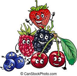 vruchten, groep, spotprent, illustratie, bes