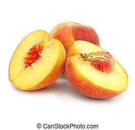vruchten, knippen, perzik, rijp, vrijstaand