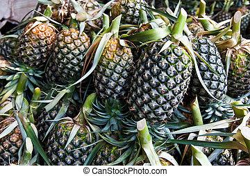 vruchten, pinapple, stapel