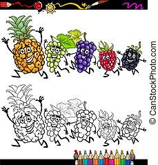 vruchten, rennende , kleuren, spotprent, pagina