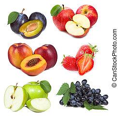 vruchten, set, besjes