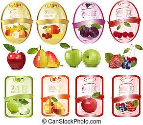 vruchten, set, etiketten