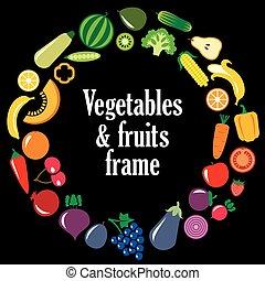 vruchten, set, frame, groentes
